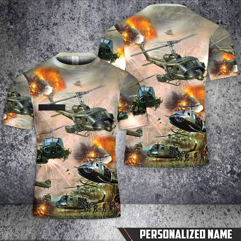 Custom Name United States Army Huey Helicopter T Shirt 3D