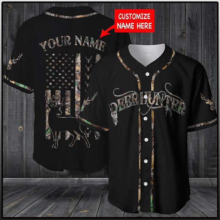 Deer hunter custom name base ball shirt 1