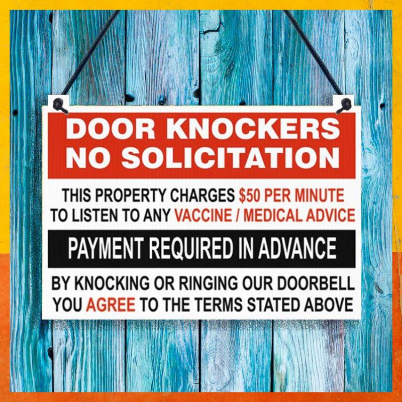 Door knockers no solicitation metal hanging sign 1