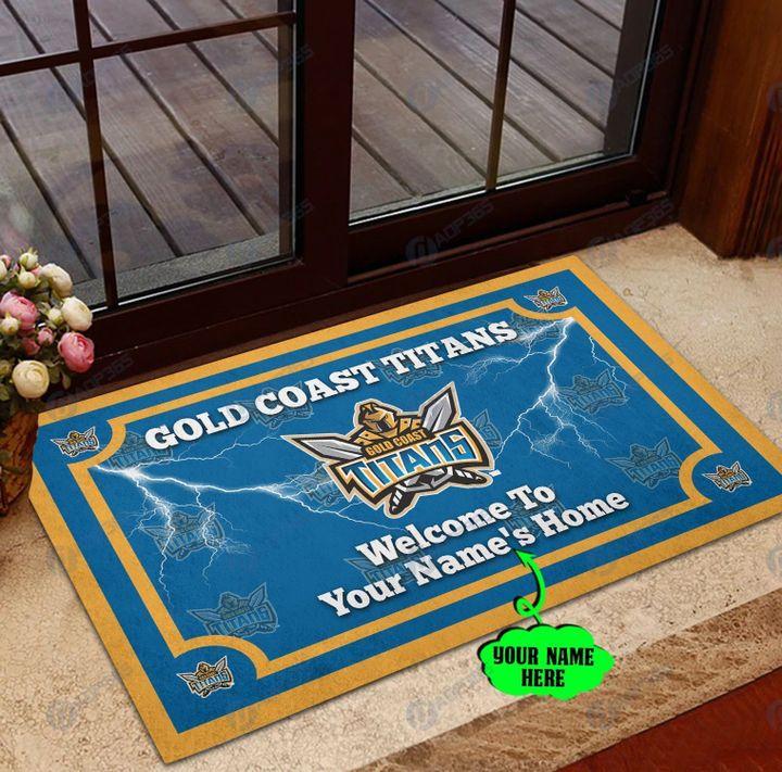 Gold Coast Titan welcome to home custom name doormat