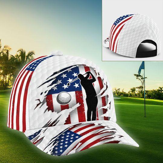 Golfer American flag cap1