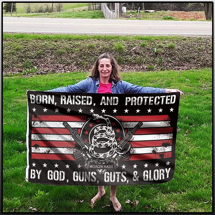 Gun snake born raised and protected by god guns guts and glory flag 1