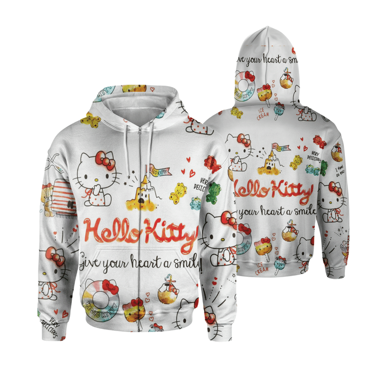 Hello Kitty Cat Give your heart a smile 3d Hoodie