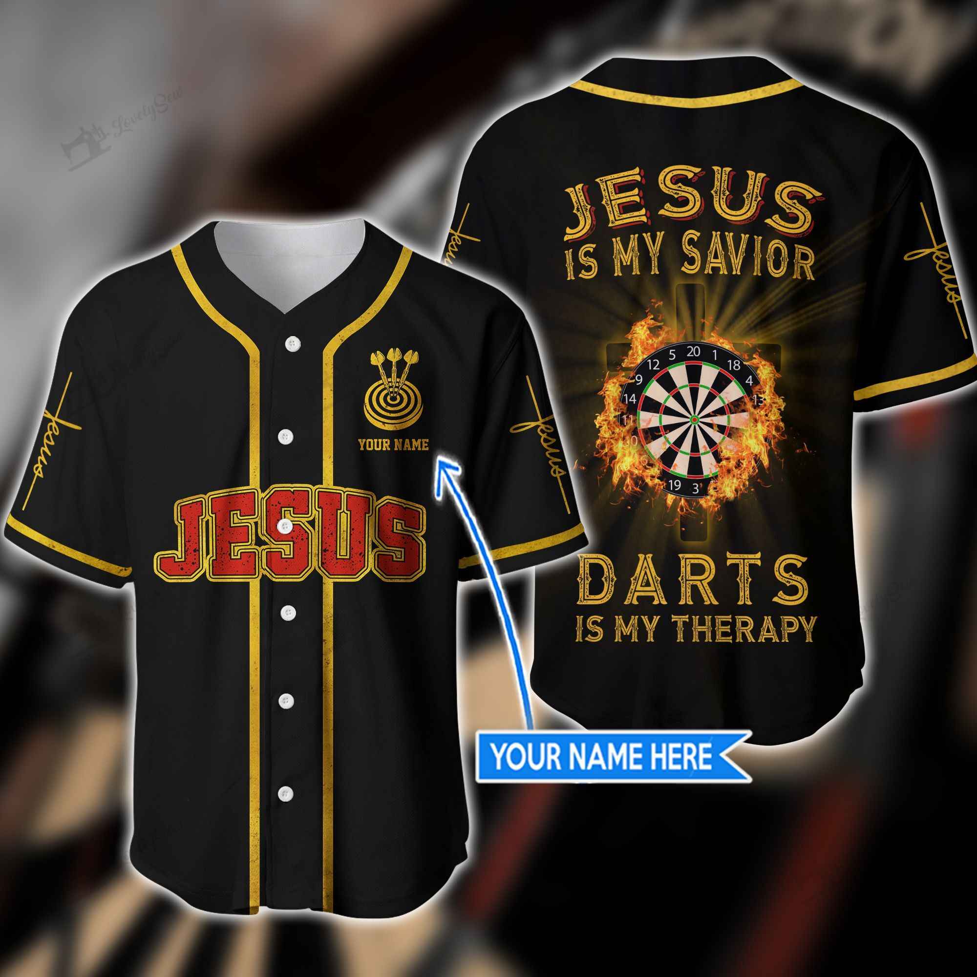 Jesus is my savior darts is my therapy custom name baseball shirt