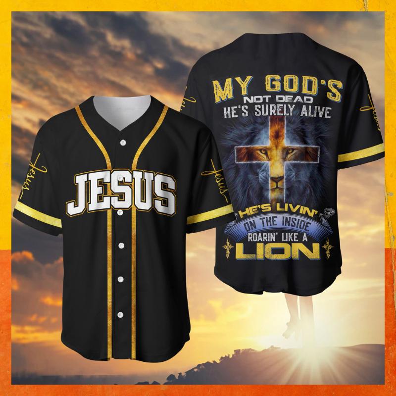 Jesus lion cross my God not dead he surely alive baseball shirt 1