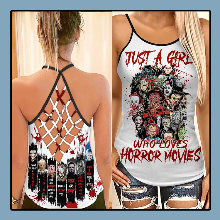 Just a girl who loves horror movies criss cross strappy tank top1