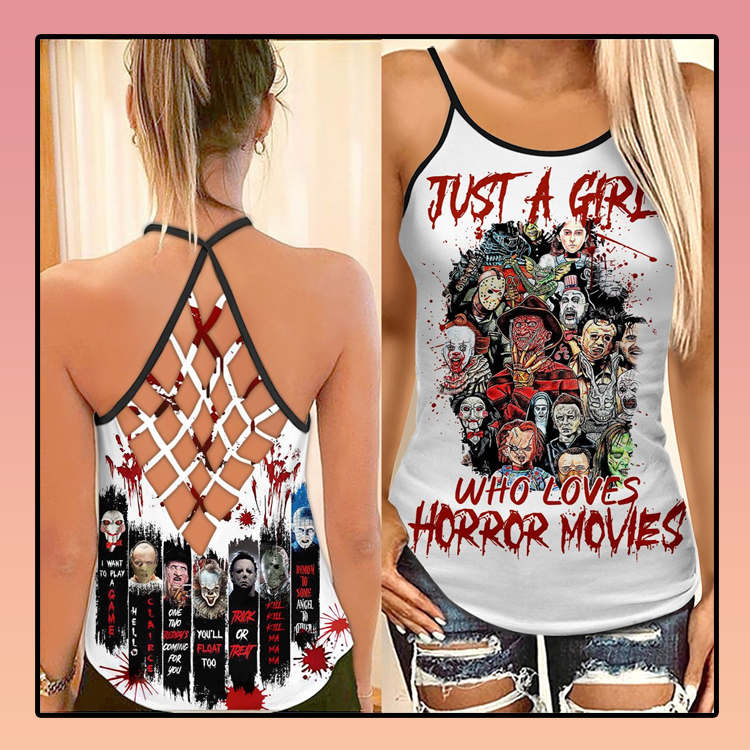 Just a girl who loves horror movies criss cross strappy tank top3
