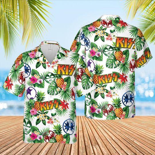 Kiss rock band Hawaiian Shirt and short