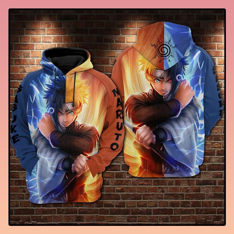 Naruto and sasuke fire and water 3d hoodie