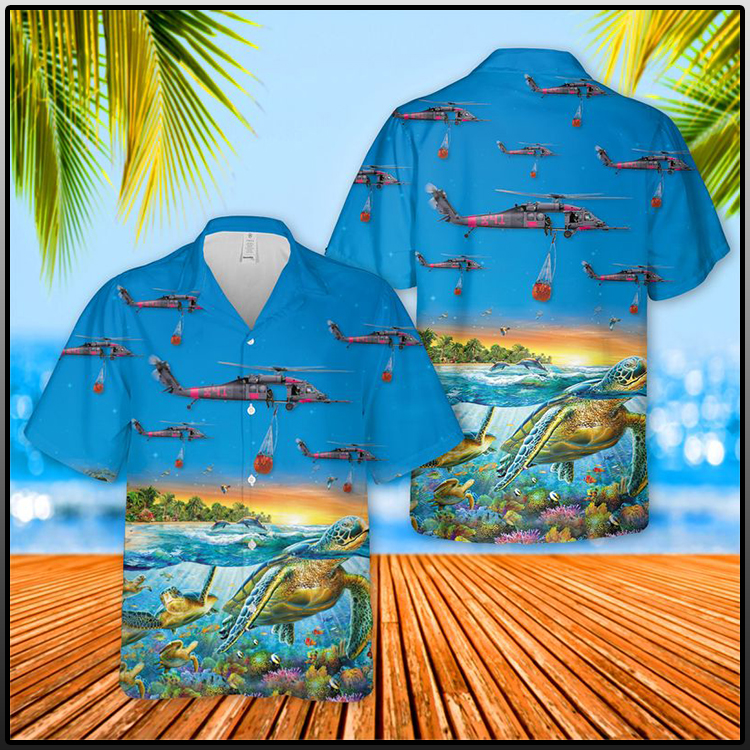 129th Rescue Wing HH 60G Pave Hawk turtle Hawaiian shirt and short men