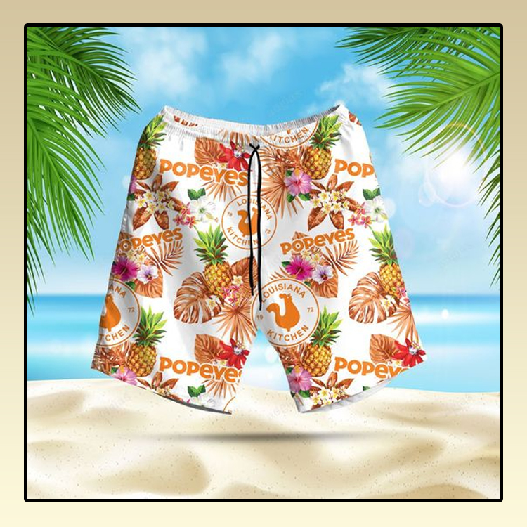 Popeyes pineapple kitchen Hawaiian Shirt and short2