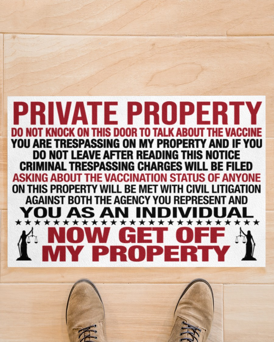 Private property do not enter my house to talk about the vaccine doormat 1