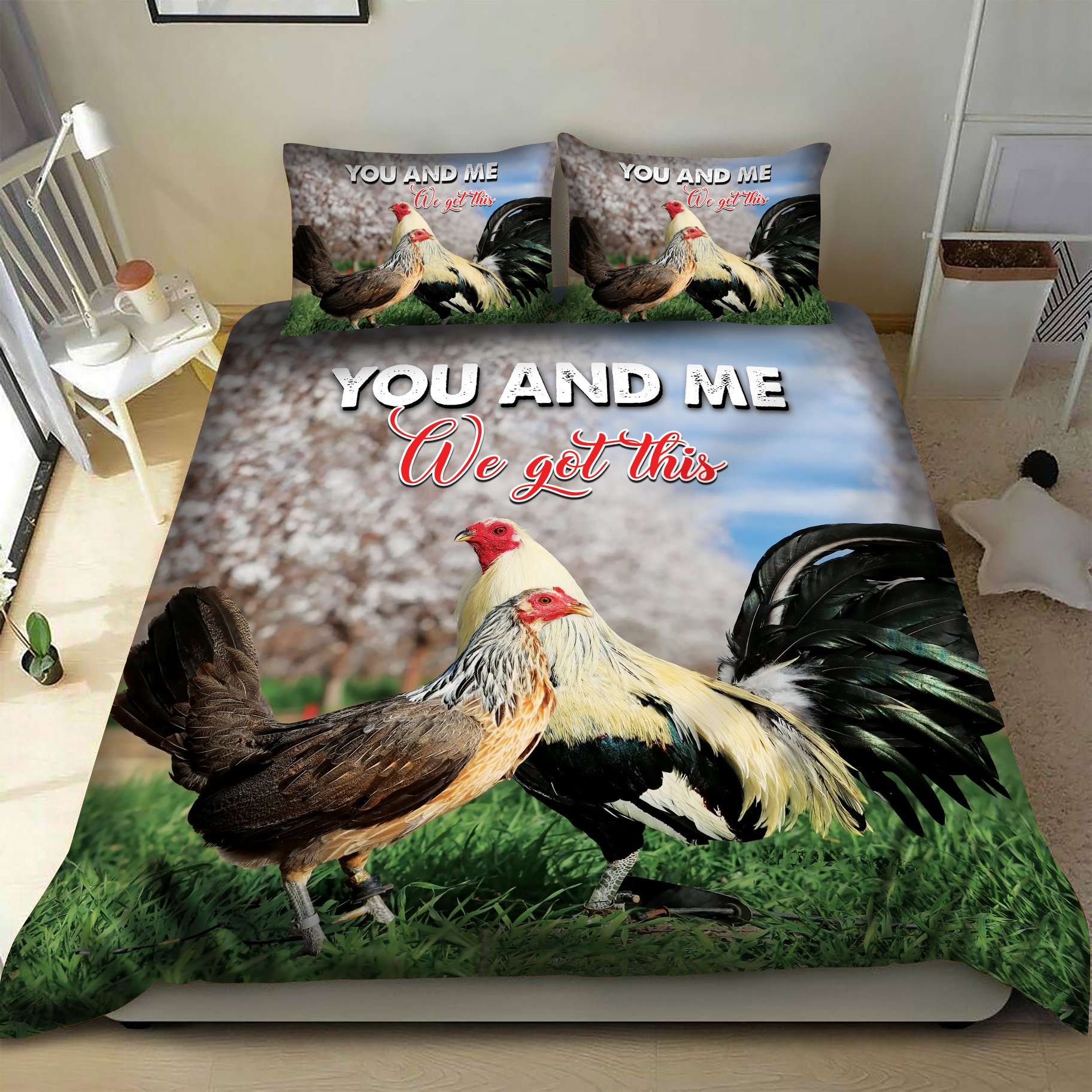 Rooster you and me we got this bedding set 1