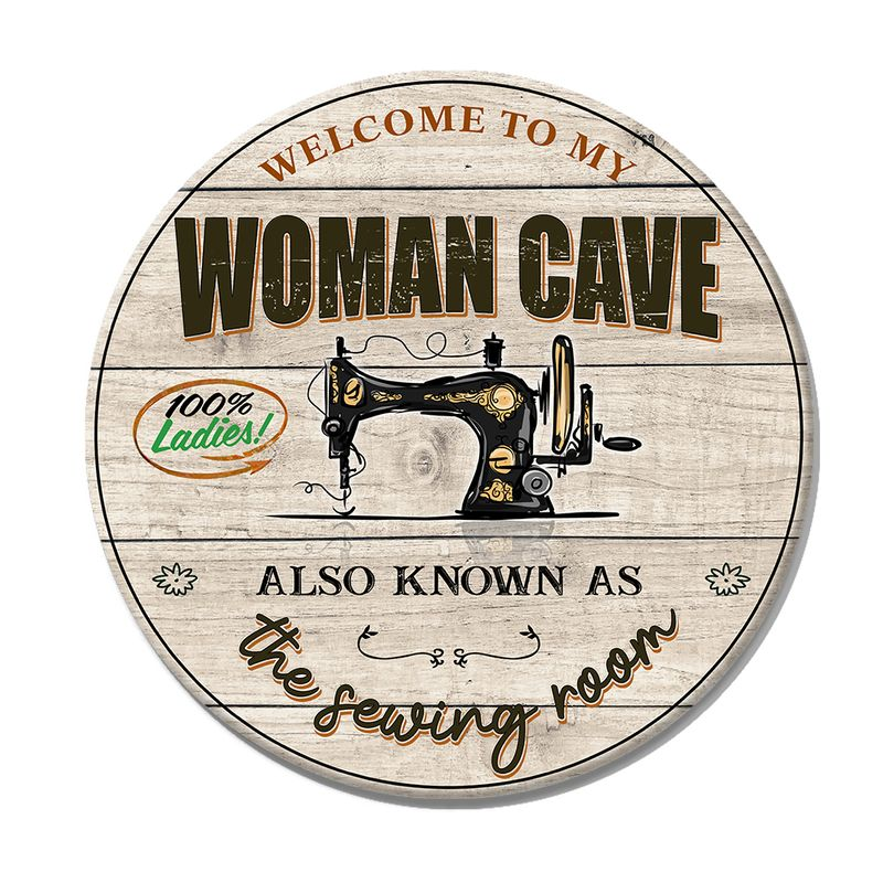 Sewing Round Wood Sign1