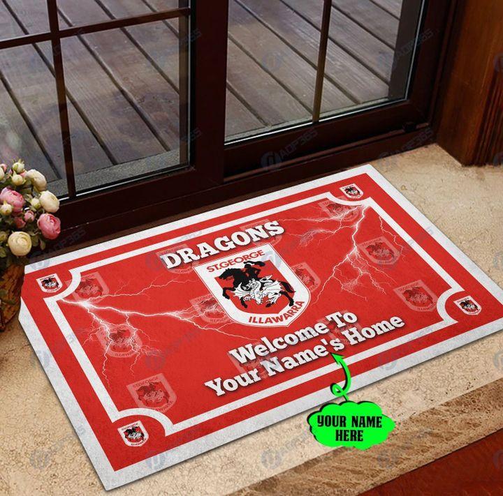 St George Illawarra Dragons welcome to home custom name doormat