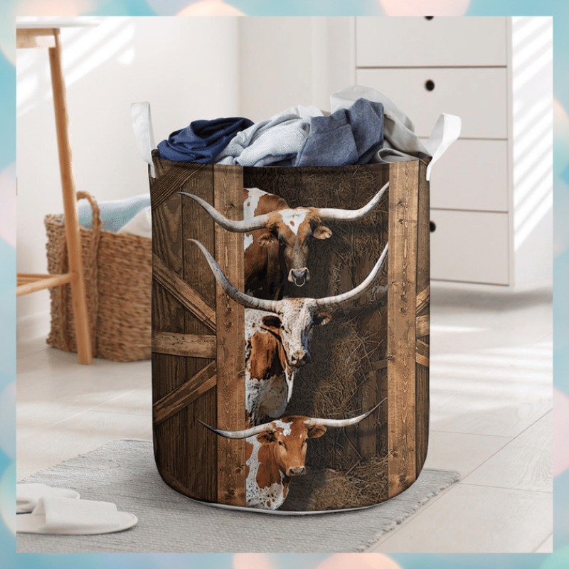 Texas longhorn cattle laundry basket 2