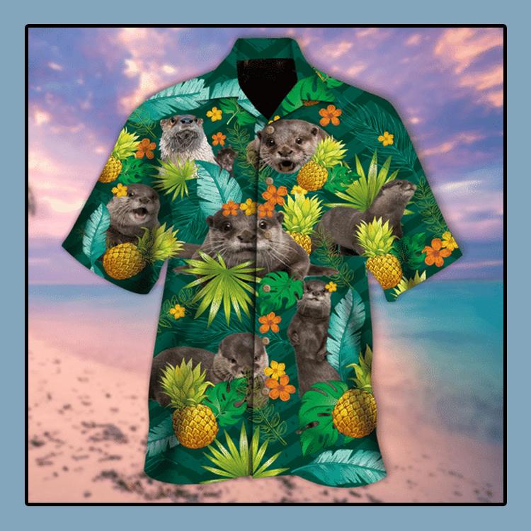Tropical pineapple otter hawaiian shirt1