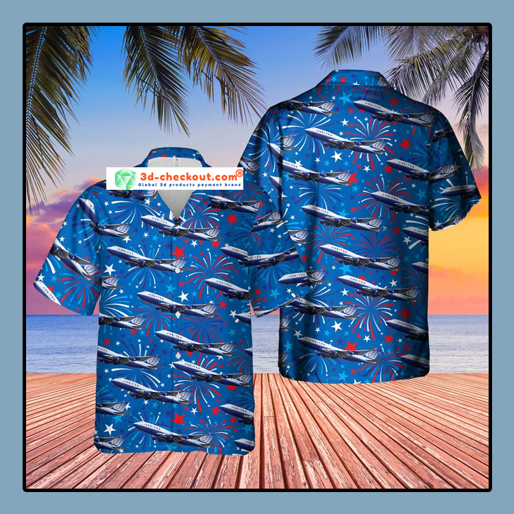 US Airlines 4 Boeing 747 422 4th of July Hawaiian Shirt3