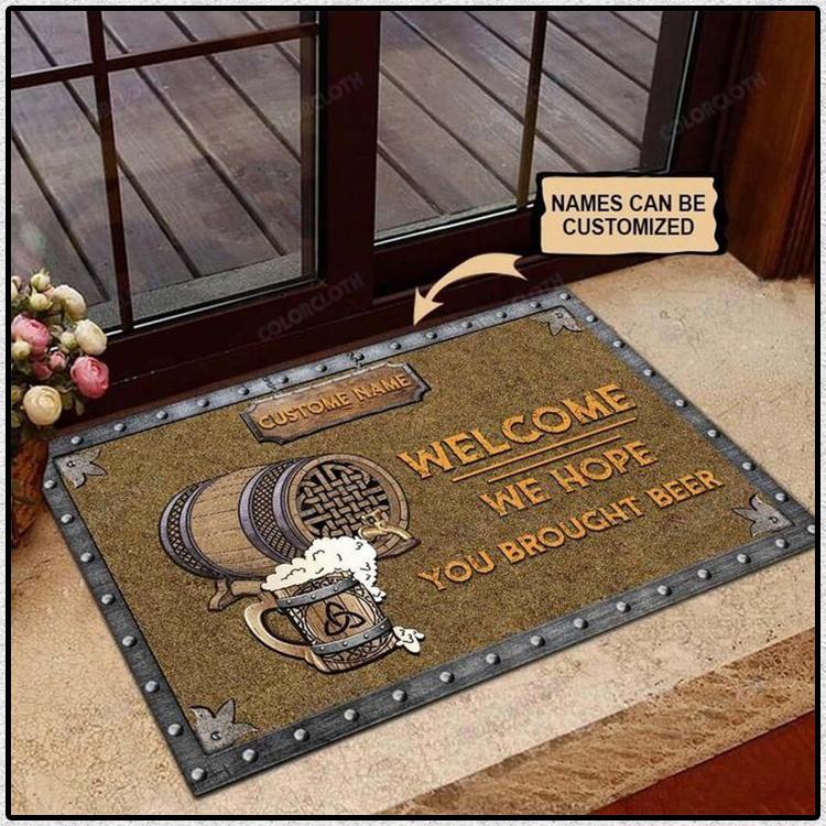 We hope you brought beer custom name doormat 2