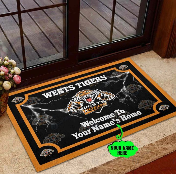 Wests tigers welcome to home custom name doormat
