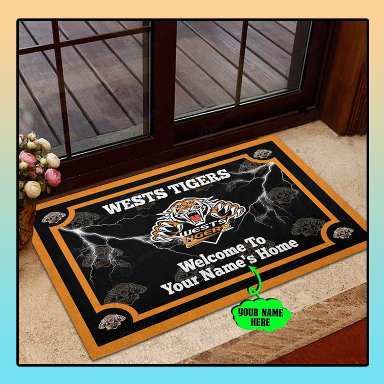 Wests tigers welcome to home custom name doormat1
