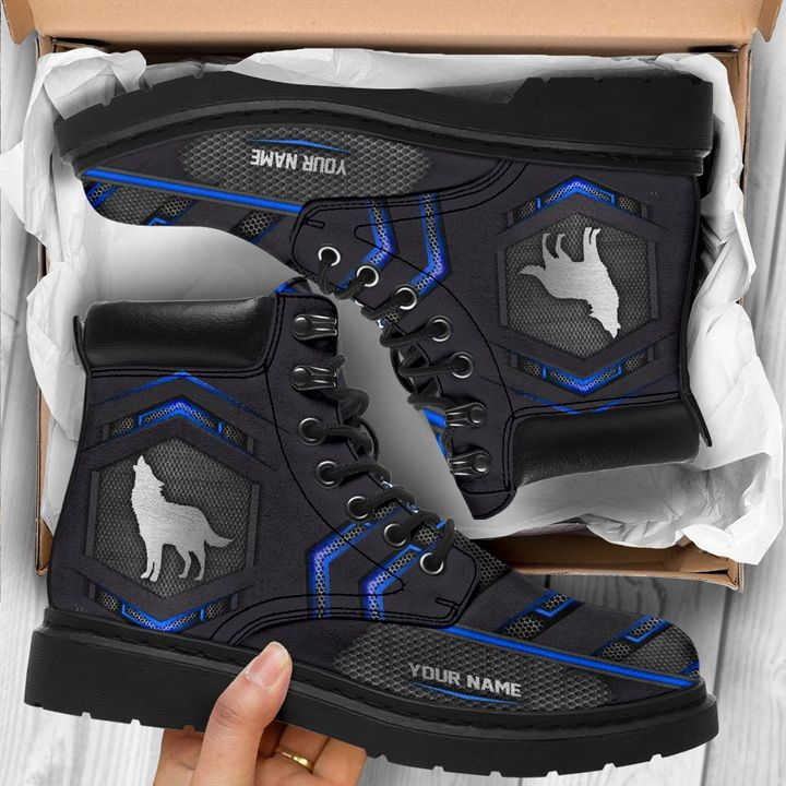 Wolf personalized custom name carbon timberland boots