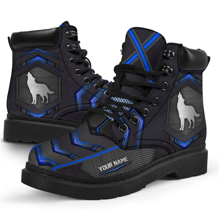 Wolf personalized custom name carbon timberland boots2