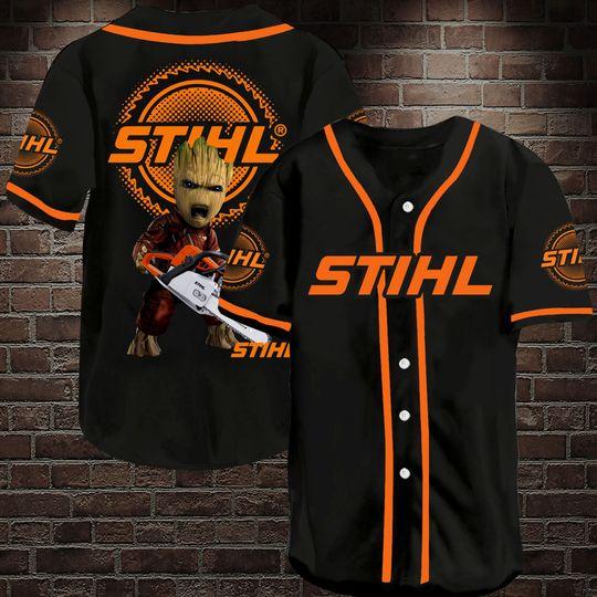 8 Groot Stihl Chainsaw Baseball Jersey Shirt 1