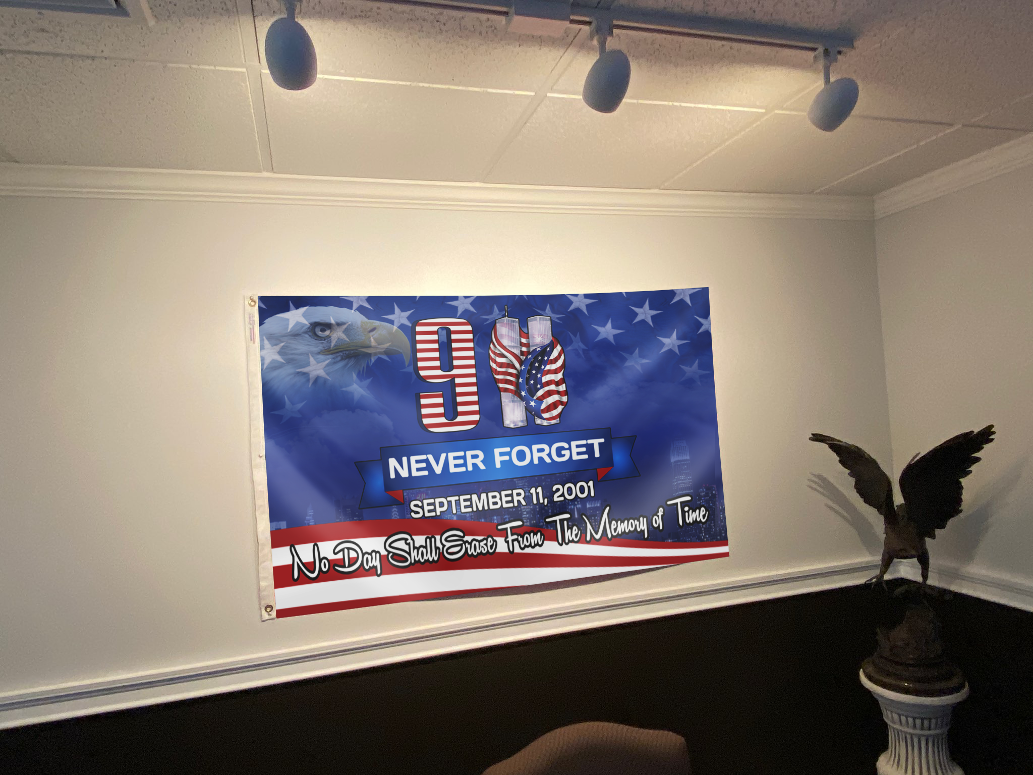 9 11 No Day Shall Erase From The Memory of Time Flag