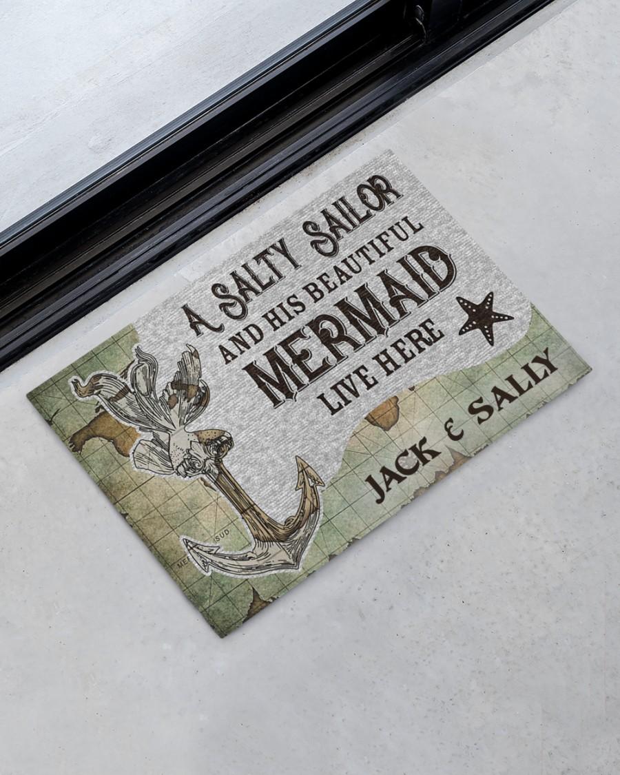 A salty sailor and his beautiful mermaid live here custom name doormat 1
