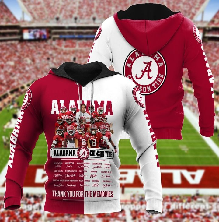 Alabama crimson tide thank for the memories 3d hoodie 1