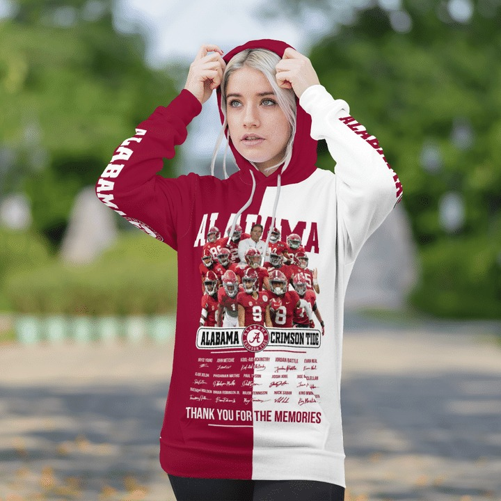 Alabama crimson tide thank for the memories 3d hoodie 3