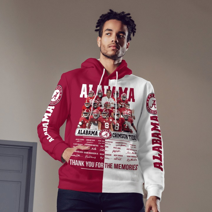 Alabama crimson tide thank for the memories 3d hoodie 4