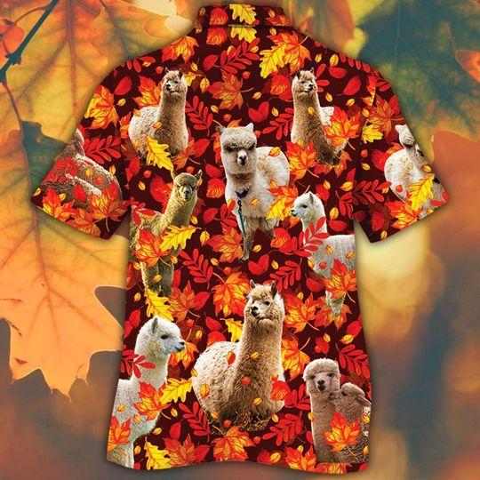 Alpaca horse lovers autumn red leaves hawaiian shirt1