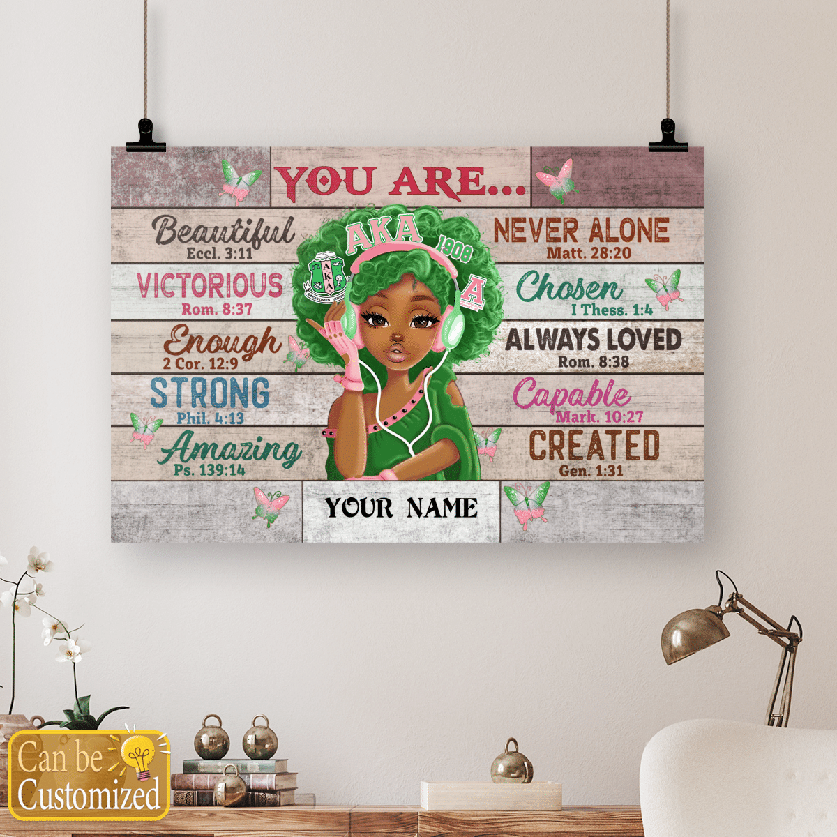 Alpha Kappa Black teenage you are beautiful strong always loved custom name poster 4