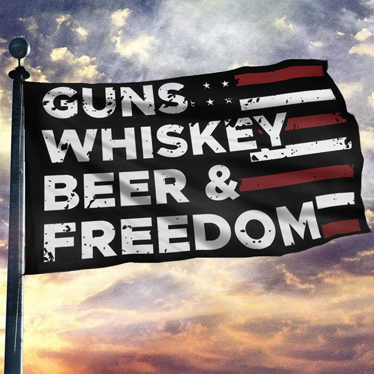 American Guns Whiskey Beer And Freedom Flag