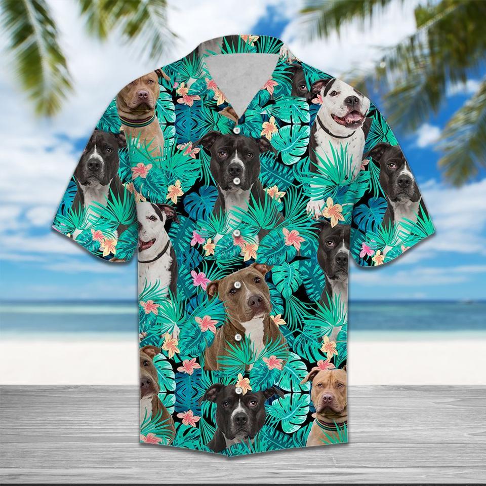 American pit bull terrier tropical hawaiian shirt