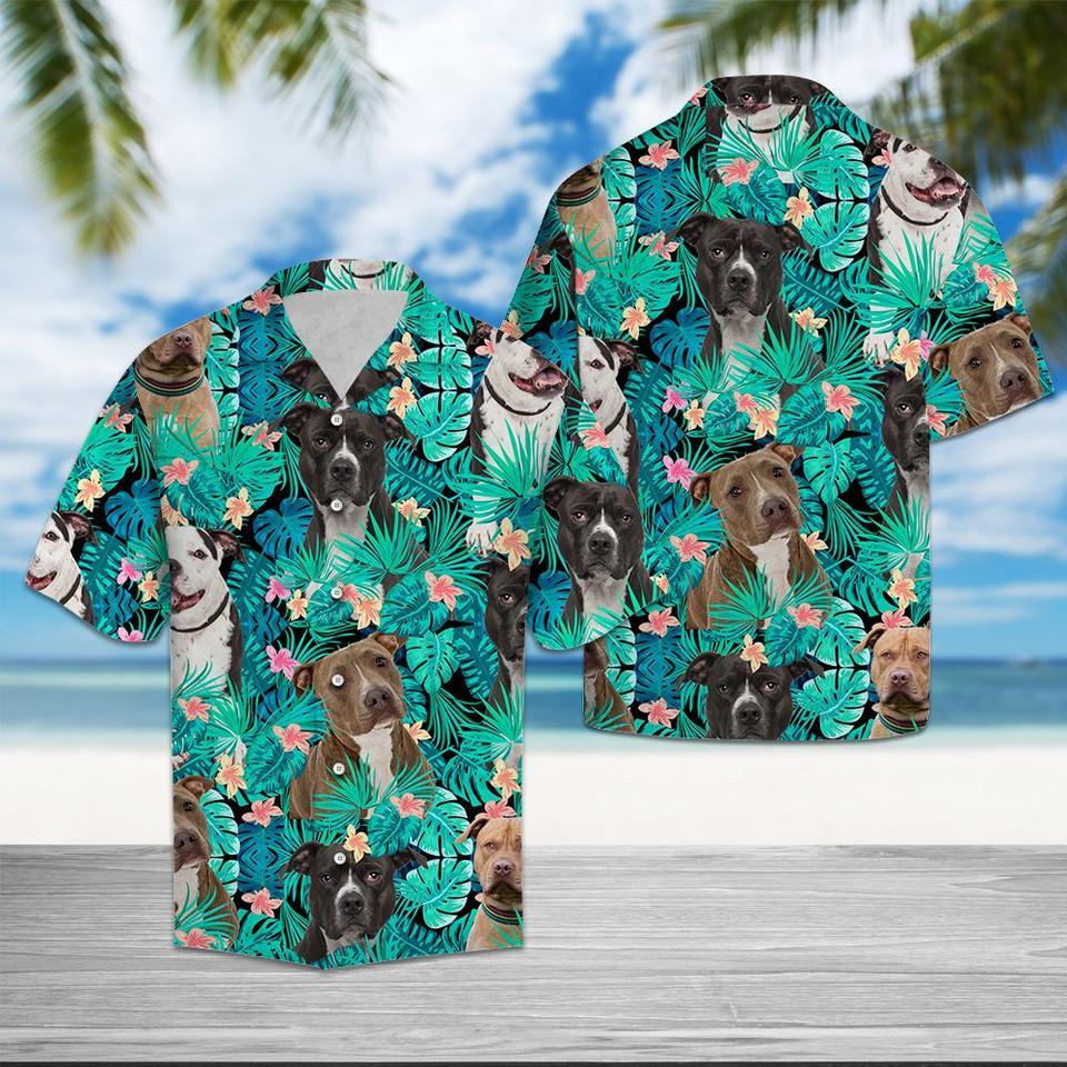 American pit bull terrier tropical hawaiian shirt1