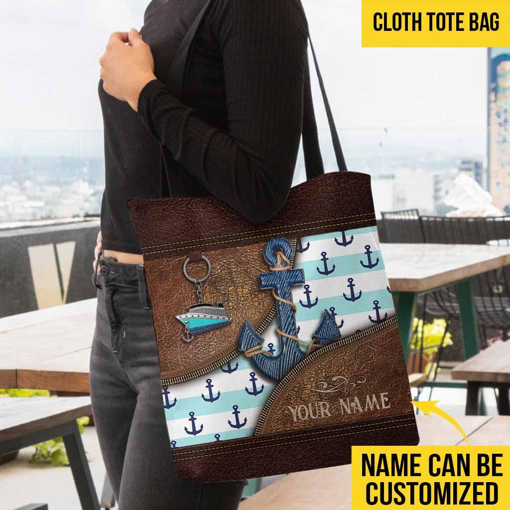 Anchor ship custom name tote bag 1
