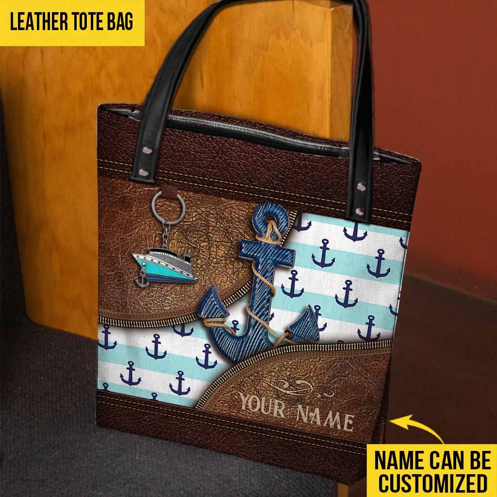 Anchor ship custom name tote bag 2