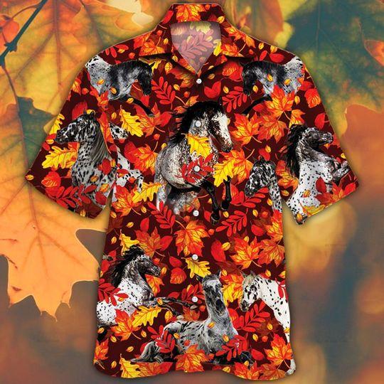 Appaloosa horse lovers autumn red leaves hawaiian shirt