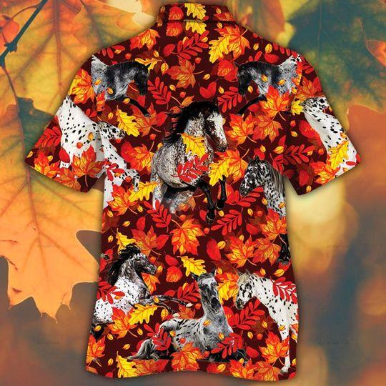 Appaloosa horse lovers autumn red leaves hawaiian shirt1