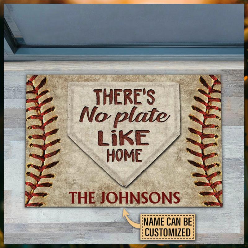 Baseball theres no plate like home custom name doormat 1