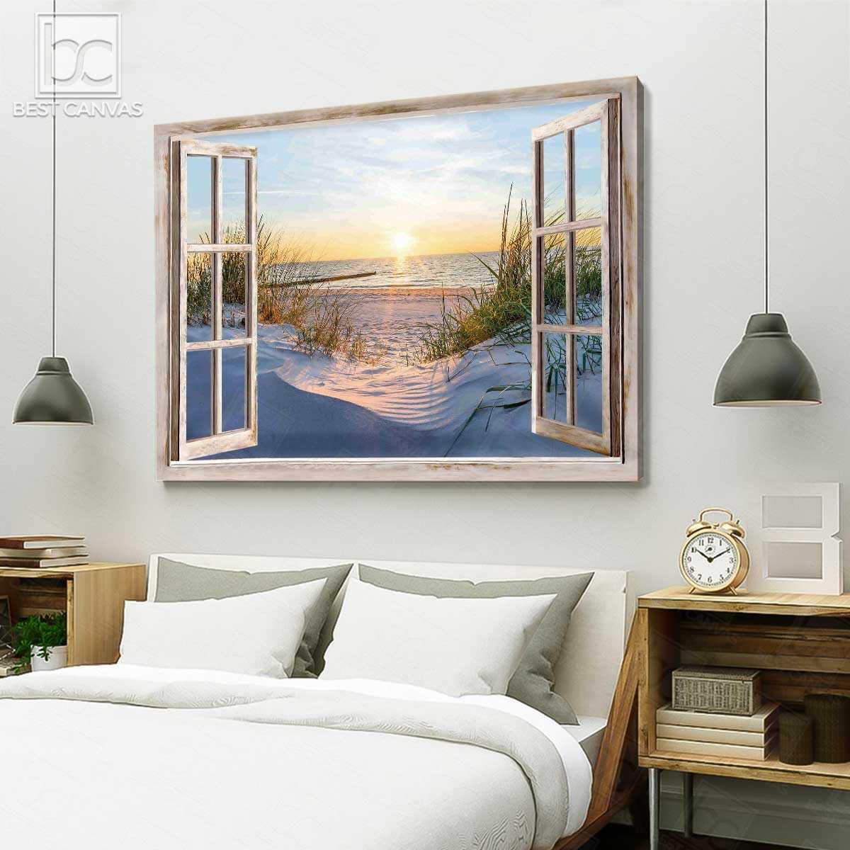 Beautiful beach in the morning through window canvas 4