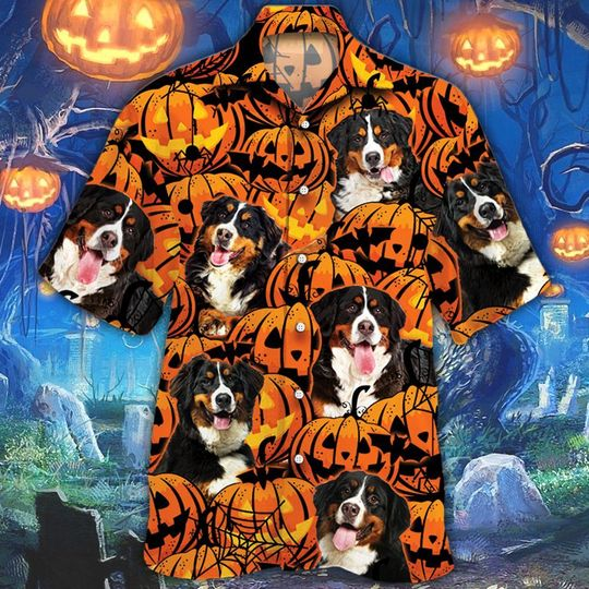 Bernese mountain dog halloween pumpkin hawaiian shirt