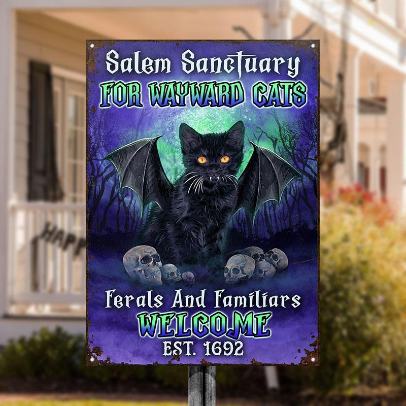 Black Cat Salem Sanctuary For Wayward Cat custom name metal sign