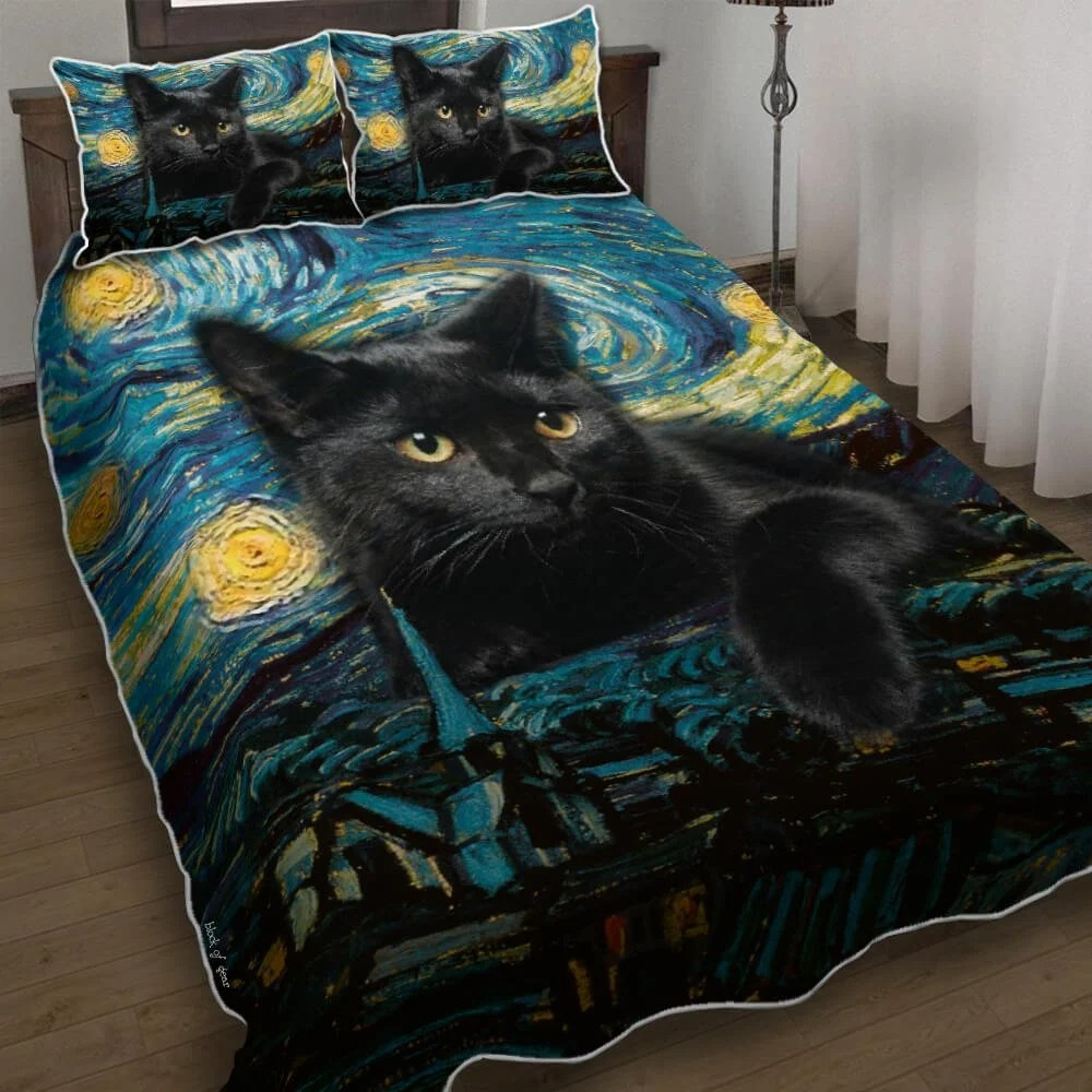 Black Cat Starry Night Quilt Bedding Set