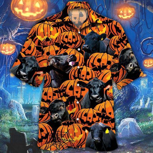 Black angus cattle halloween pumpkin hawaiian shirt