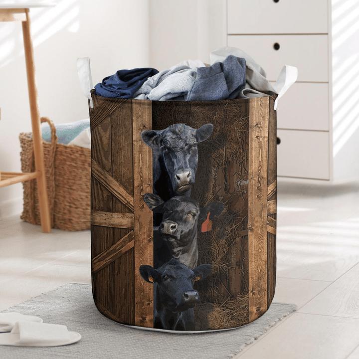 Black angus cattle laundry basket