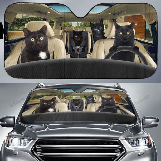 Black cat family driving car sunshade